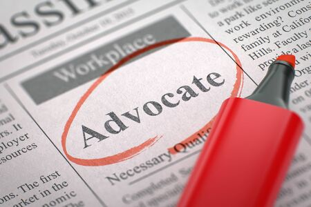 Advocate - Small Ads of Job Search in Newspaper, Circled with a Red Marker. Blurred Image with Selective focus. Hiring Concept. 3D Rendering. Stock Photo
