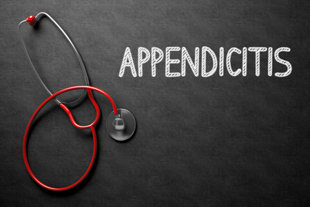 peritonitis: Medical Concept: Appendicitis Handwritten on Black Chalkboard. Top View of Red Stethoscope on Chalkboard. Medical Concept: Appendicitis - Medical Concept on Black Chalkboard. 3D Rendering.