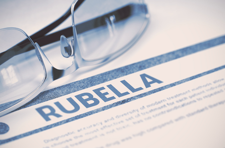 rubella: Rubella - Medicine Concept on Blue Background with Blurred Text and Composition of Specs. Rubella - Medicine Concept with Blurred Text and Glasses on Blue Background. Selective Focus. 3D Rendering.