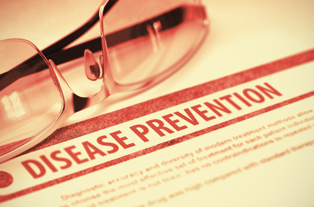 prevention of disease: Disease Prevention - Medical Concept on Red Background with Blurred Text and Composition of Eyeglasses. 3D Rendering.