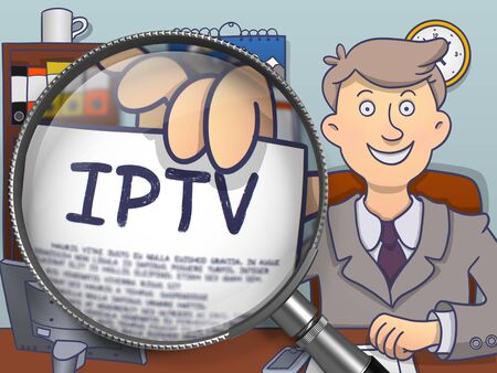 iptv: IPTV -  Internet Protocol Television. Concept on Paper in Business Mans Hand through Magnifier. Colored Doodle Illustration.