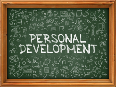 personal development: Personal Development - Hand Drawn on Green Chalkboard with Doodle Icons Around. Modern Illustration with Doodle Design Style.