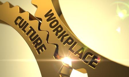 Workplace Culture on Mechanism of Golden Metallic Cog Gears. 3D Render.