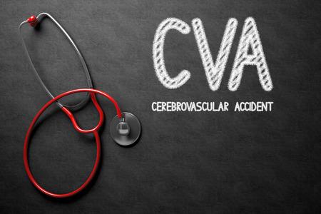 cva: Medical Concept: CVA - Cerebrovascular Accident - Medical Concept on Black Chalkboard. Medical Concept: CVA - Cerebrovascular Accident Handwritten on Black Chalkboard. 3D Rendering. Stock Photo