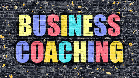Business Coaching Concept. Modern Illustration. Multicolor Business Coaching Drawn on Dark Brick Wall. Doodle Icons. Doodle Style of  Business Coaching Concept. Business Coaching on Wall. Stock Photo