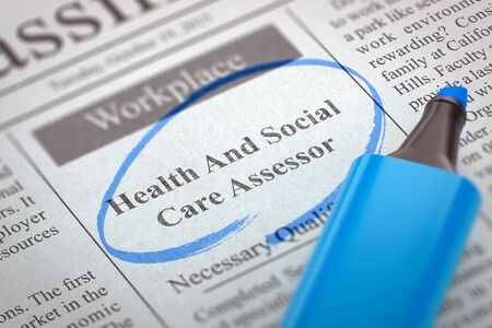Health And Social Care Assessor - Job Vacancy in Newspaper, Circled with a Blue Highlighter. Blurred Image. Selective focus. Hiring Concept. 3D Illustration. Stock Illustration - 62295724
