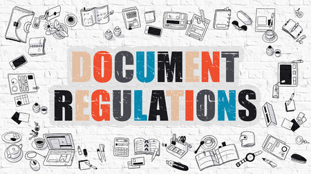regulations: Multicolor Concept - Document Regulations - on White Brick Wall with Doodle Icons Around. Modern Illustration with Doodle Design Style.