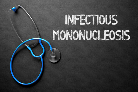 lesions: Medical Concept: Infectious Mononucleosis on Black Chalkboard. Medical Concept: Infectious Mononucleosis - Text on Black Chalkboard with Blue Stethoscope. 3D Rendering.