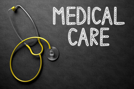 therapeutical: Medical Concept: Medical Care - Text on Black Chalkboard with Yellow Stethoscope. Black Chalkboard with Medical Care - Medical Concept. 3D Rendering. Stock Photo