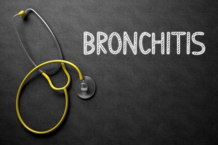 alveolos: Concepto médico: Bronquitis - concepto médico en la pizarra Negro. Concepto médico: Bronquitis - Texto sobre Negro pizarra con el estetoscopio amarillo. Representación 3D. Foto de archivo
