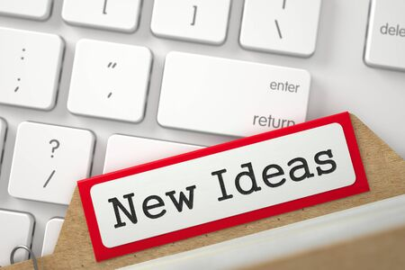 new ideas: Red Folder Register with Inscription New Ideas on Background of Modern Keyboard. Closeup View. Blurred Image. 3D Rendering.