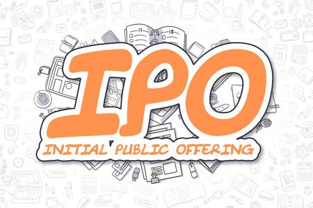 IPO - Initial Public Offering - Sketch Business Illustration. Orange Hand Drawn Word IPO - Initial Public Offering Surrounded by Stationery. Doodle Design Elements. Stock Photo