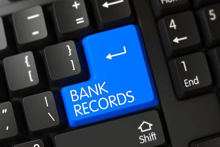 bank records: Bank Records on Modern Keyboard Background. 3D Illustration. Stock Photo