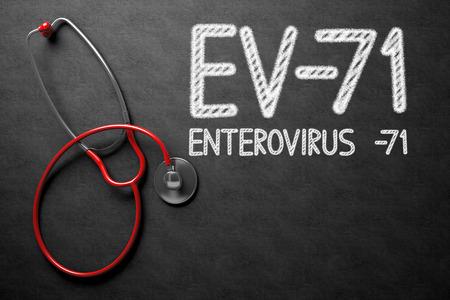 enteric: Medical Concept: EV-71 - Enterovirus -71 Handwritten on Black Chalkboard. Medical Concept: EV-71 - Enterovirus -71 - Text on Black Chalkboard with Red Stethoscope. 3D Rendering. Stock Photo