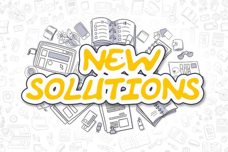 new solutions: New Solutions - Sketch Business Illustration. Yellow Hand Drawn Text New Solutions Surrounded by Stationery. Cartoon Design Elements.