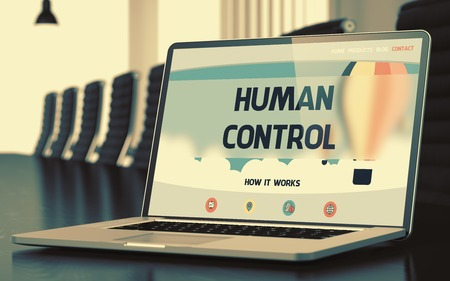 adequacy: Human Control on Landing Page of Laptop Screen in Modern Conference Room Closeup View. Toned Image. Blurred Background. 3D Rendering.
