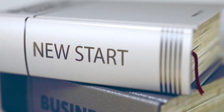 new start: Close-up of a Book with the Title on Spine New Start. New Start Concept. Book Title. New Start - Business Book Title. Toned Image with Selective focus. 3D.