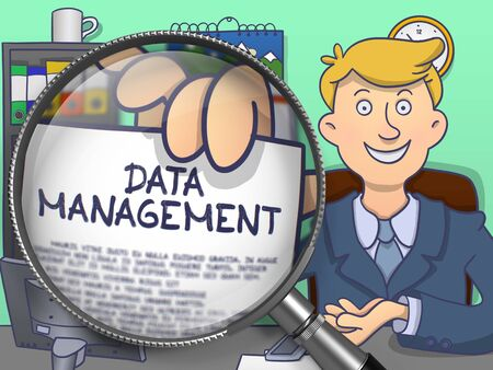 systematization: Officeman in Suit Looking at Camera and Holding a Text on Paper Data Management Concept through Magnifying Glass. Closeup View. Colored Modern Line Illustration in Doodle Style.