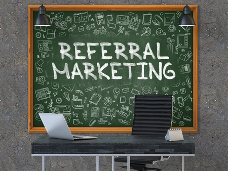referral marketing: Referral Marketing - Hand Drawn on Green Chalkboard in Modern Office Workplace. Illustration with Doodle Design Elements. 3D. Stock Photo