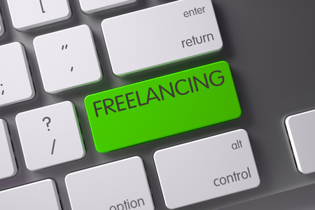 freelancing: Freelancing Concept Modern Laptop Keyboard with Freelancing on Green Enter Keypad Background, Selected Focus. 3D Illustration. Stock Photo