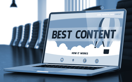 Best Content on Landing Page of Laptop Screen in Modern Conference Hall Closeup View. Toned. Blurred Image. 3D Render. Stock Photo