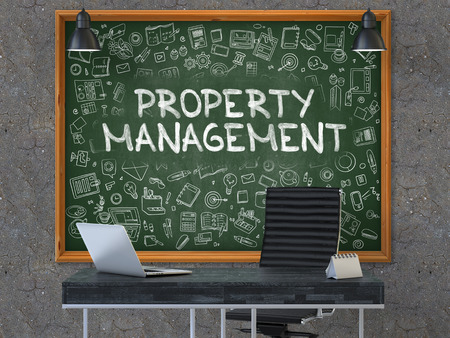 superintendence: Property Management - Handwritten Inscription by Chalk on Green Chalkboard with Doodle Icons Around. Business Concept in the Interior of a Modern Office on the Dark Old Concrete Wall Background. 3D.