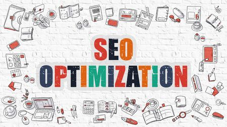 metasearch: SEO - Search Engine Optimization - Optimization - Multicolor Concept with Doodle Icons Around on White Brick Wall Background. Modern Illustration with Elements of Doodle Design Style.