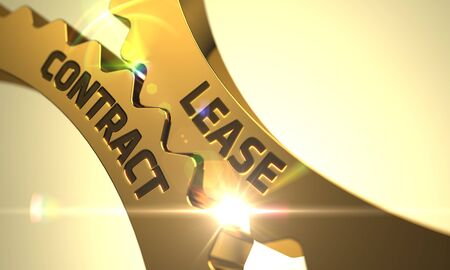 lessee: Lease Contract on the Mechanism of Golden Metallic Cogwheels with Lens Flare. 3D.
