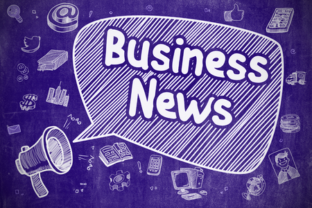 business news: Speech Bubble with Phrase Business News Cartoon. Illustration on Blue Chalkboard. Advertising Concept. Business Concept. Megaphone with Text Business News. Hand Drawn Illustration on Blue Chalkboard. Stock Photo