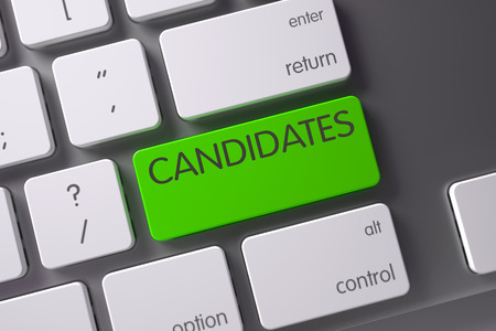 Candidates Concept Modern Laptop Keyboard with Candidates on Green Enter Keypad Background, Selected Focus. 3D Render. Stock Photo