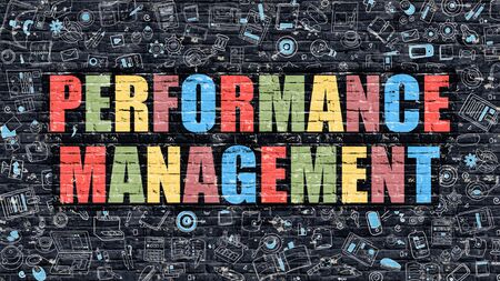throughput: Performance Management. Multicolor Inscription on Dark Brick Wall with Doodle Icons. Performance Management Concept in Modern Style. Performance Management Business Concept.
