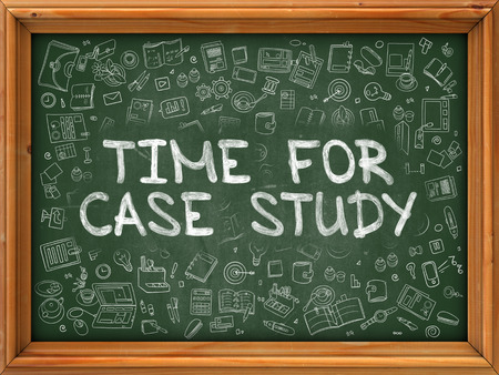 practical: Green Chalkboard with Hand Drawn Time for Case Study with Doodle Icons Around. Line Style Illustration. Stock Photo