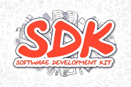 dissemination: Doodle Illustration of Sdk - Software Development Kit, Surrounded by Stationery. Business Concept for Web Banners, Printed Materials.