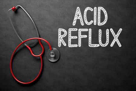 esophageal: Medical Concept: Black Chalkboard with Acid Reflux. Medical Concept: Acid Reflux on Black Chalkboard. 3D Rendering.