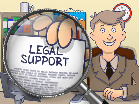 lawmaking: Legal Support through Magnifying Glass. Man Holds Out a Text on Paper. Closeup View. Colored Doodle Style Illustration.