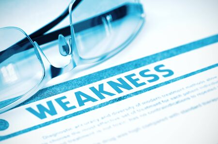 Weakness - Medicine Concept with Blurred Text and Glasses on Blue Background. Selective Focus. Weakness - Medical Concept on Blue Background with Blurred Text and Composition of Glasses. 3D Rendering. Stock Photo