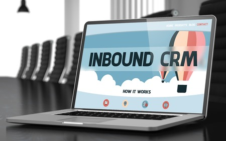 conference hall: Laptop Display with Inbound Crm Concept on Landing Page. Closeup View. Modern Conference Hall Background. Toned Image. Blurred Background. 3D Render.