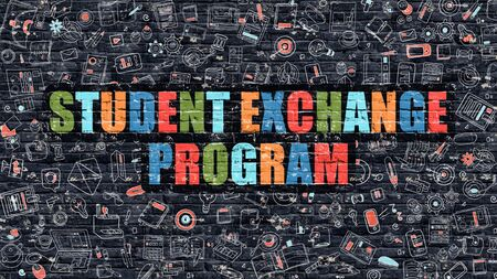 Student Exchange Program - Multicolor Concept on Dark Brick Wall Background with Doodle Icons Around. Illustration with Elements of Doodle Style. Student Exchange Program on Dark Wall.