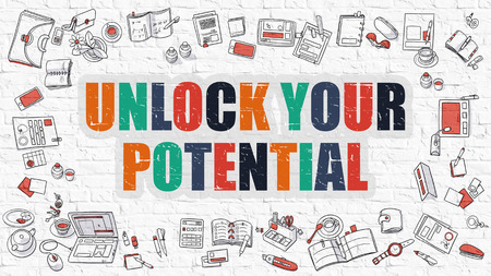 potential: Unlock Your Potential. Multicolor Inscription on White Brick Wall with Doodle Icons Around. Modern Style Illustration with Doodle Design Icons. Unlock Your Potential on White Brickwall Background. Stock Photo