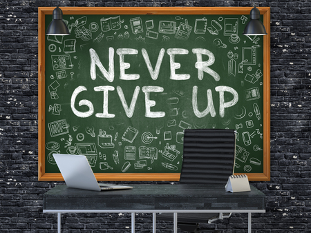purposefulness: Never Give Up - Handwritten Inscription by Chalk on Green Chalkboard with Doodle Icons Around. Business Concept in the Interior of a Modern Office on the Dark Brick Wall Background. 3D. Stock Photo