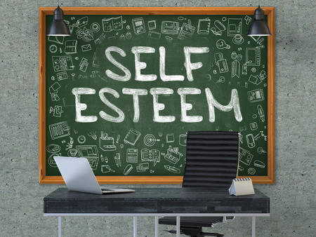 nobleness: Self Esteem - Hand Drawn on Green Chalkboard in Modern Office Workplace. Illustration with Doodle Design Elements. 3D.