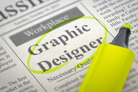Graphic Designer - Vacancy in Newspaper, Circled with a Yellow Highlighter. Blurred Image. Selective focus. Job Search Concept. 3D Rendering.