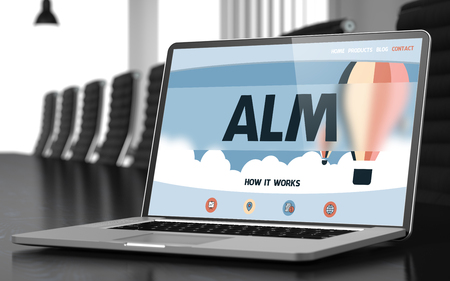 streamlining: Alm on Landing Page of Laptop Screen. Closeup View. Modern Meeting Room Background. Blurred. Toned Image. 3D Illustration.