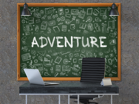 exploit: Adventure - Hand Drawn on Green Chalkboard in Modern Office Workplace. Illustration with Doodle Design Elements. 3D.