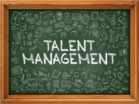 talent management: Talent Management - Hand Drawn on Chalkboard. Talent Management with Doodle Icons Around. Stock Photo