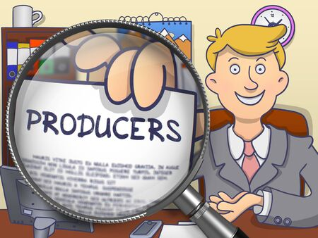 producers: Producers. Concept on Paper in Business Mans Hand through Lens. Multicolor Doodle Illustration. Stock Photo