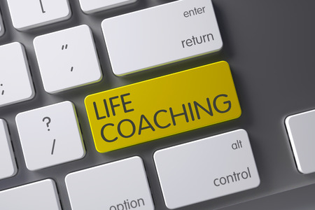life coaching: Life Coaching Concept: White Keyboard with Life Coaching, Selected Focus on Yellow Enter Keypad. 3D Render.