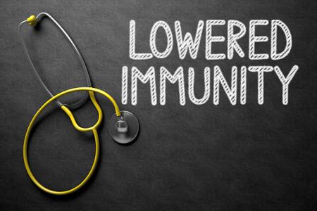 immunity: Medical Concept: Black Chalkboard with Lowered Immunity. Medical Concept: Lowered Immunity on Black Chalkboard. 3D Rendering.