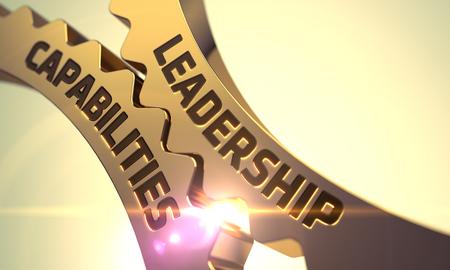 capabilities: Leadership Capabilities - Industrial Design. Leadership Capabilities Concept. Golden Metallic Cog Gears. 3D Render.