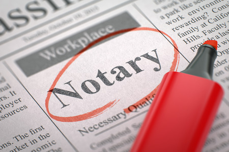 Notary - Jobs Section Vacancy in Newspaper, Circled with a Red Highlighter. Blurred Image. Selective focus. Hiring Concept. 3D Render.
